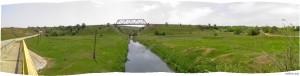 Панорама: Ж/Д мост через речку Бык в Калфе