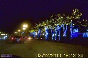 Украшенные деревья в центре Тирасполя